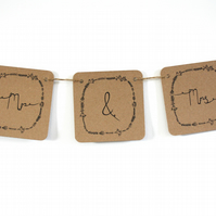 Mr and Mrs woodland wedding bunting