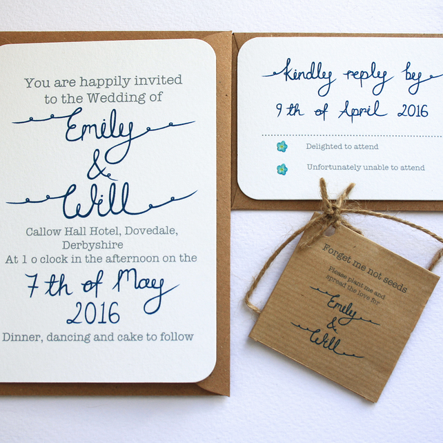 Forget Me Not Wedding Invitations: Forget Me Not Wedding Invitation Set