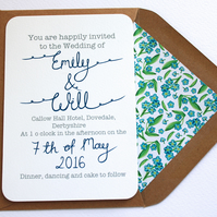 Forget me not wedding invitation