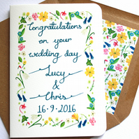Personalised calligraphy wildflower congratulations wedding card