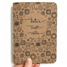 Personalised craft notes hand bound recycled notebook