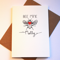 Bee mine personalised valentines card