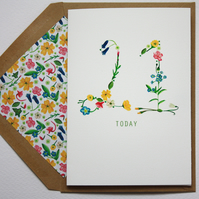 Wildflower age birthday card