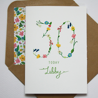 Wildflower personalised age card