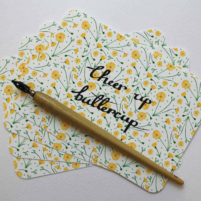 Cheer up buttercup - set of four notelets