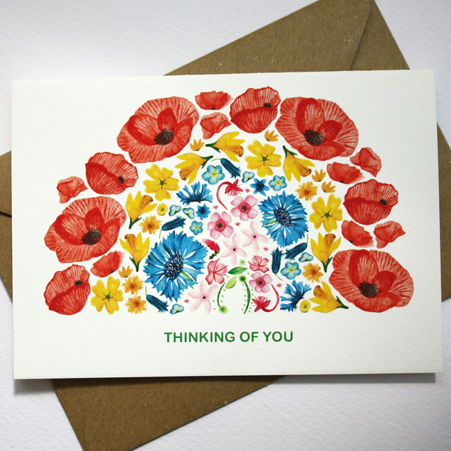 Thinking of you- rainbow flower card