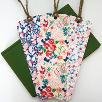 Set of three butterflies and blooms bookmarks