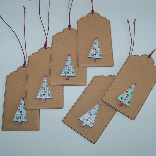 Pack of 6 Christmas Tree Button Gift Tags
