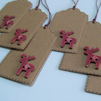 Pack of 6 Christmas Reindeer Button Gift Tags