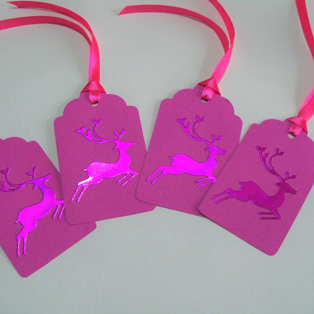 Pack of 4 Large Reindeer Christmas Gift Tags