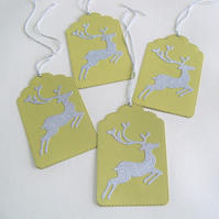 Pack of 4 Large Sparkling Reindeer Christmas Gift Tags