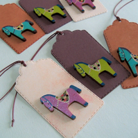 Pack of 6 Christmas Dala Horse Button Gift Tags