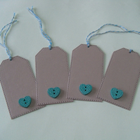 Pack of 4 Wooden Heart Button Gift Tags