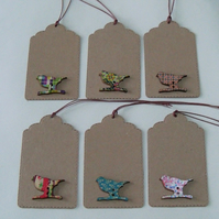 Pack of 6 Colourful Bird Wooden Button Gift Tags