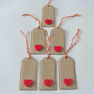 Pack of 6 Wooden Heart Button Tags