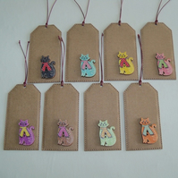 Pack of 8 Cat in Scarf Button Gift Tags
