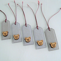 Pack of 5 Tiny Bear Face Gift Tags
