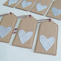 Pack of 8 Silver Sparkling Heart Gift Tags