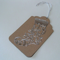 Pack of 4 Large Silver Stocking Christmas Gift Tags