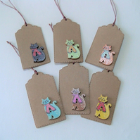 Pack of 6 Christmas Cat in Scarf Button Gift Tags
