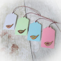 Pack of 4 Pretty Little Bird Button Gift Tags