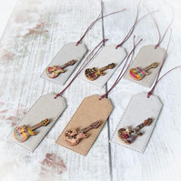 Pack of 6 Electric Guitar Button Gift Tags