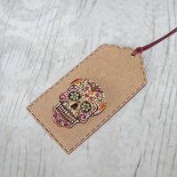 Pack of 6 Decorated Floral Skull Button Gift Tags