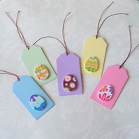 Pack of 5 Easter Egg Wooden Button Gift Tags