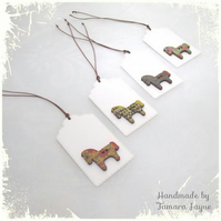 Pack of 4 Colourful Horse Wooden Button Gift Tags