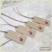 Pack of 4 Tiny Pink & Purple Flower Button Gift Tags