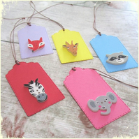 Pack of 5 Cute Wild Animal Button Gift Tags