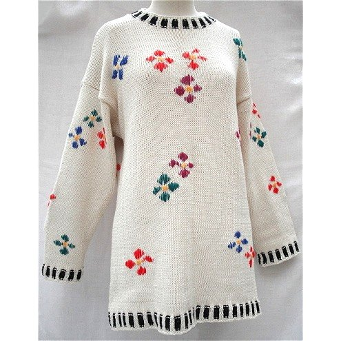 Cotton 'Flowers' Knitted Tunic in Cream