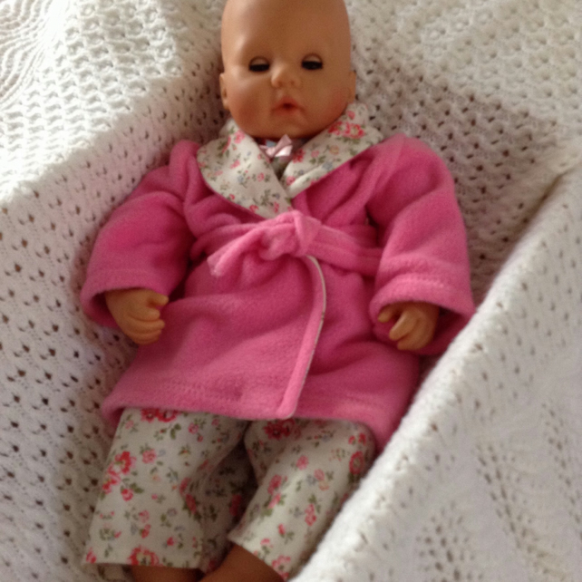 Dolls Clothes Dressing Gown & Pyjamas 46cm ... - Folksy