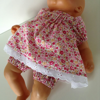 Dolls Clothes, Dress & Bloomers to fit 36 to 38cm Dolls & My First Baby Annabell