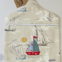Nautical coastal style peg bag with Cath Kidston fabric free motion applique