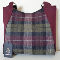 Handmade Harris Tweed Tote Bag – Burgundy & Green