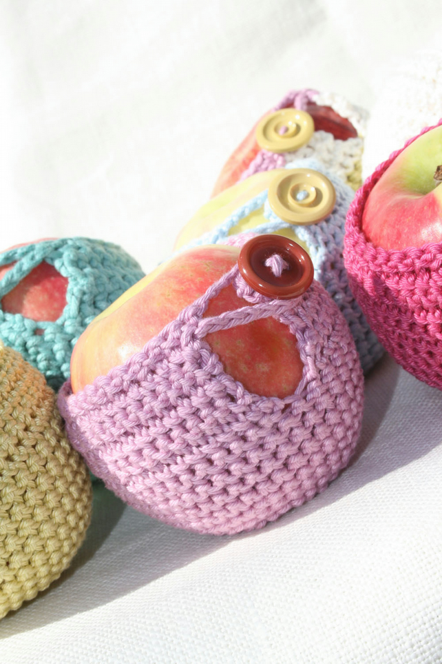 Four Apple Cosies crocheted in Pure Cotton Yarn