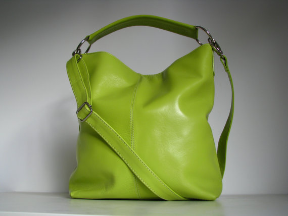 Leather Handbag Messenger Bag in Lime Green - Folksy