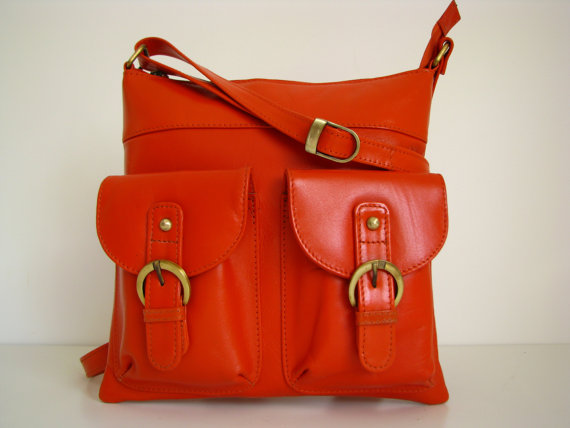 Leather Messenger Handbag in Orange