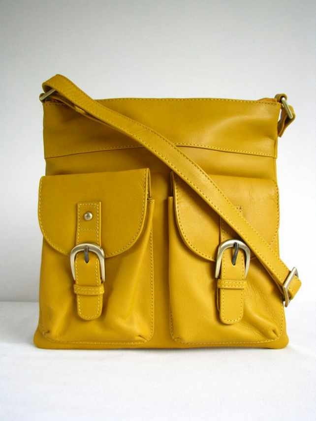 Leather Handbag Messenger Bag Yellow