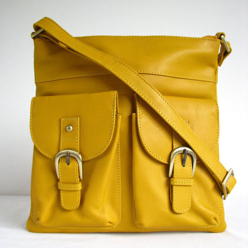 Yellow Leather Messenger Bag