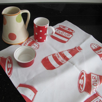 Tea Towel - Red and White Striped Kitchenware