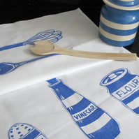 Tea Towel - Blue and White Striped Pots/Whisk and Spoon