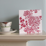 Red Chrysanthemum Greetings Card