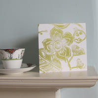 Floral Mix in Green Greetings Card