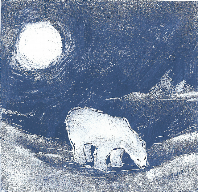 Night Time Polar Bear Christmas Card