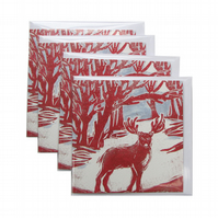 Pack of 4 Reindeer in Woods Christmas Cards