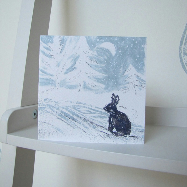 Snowy Hare Christmas Card