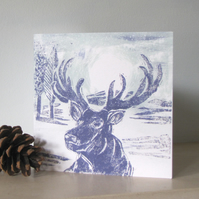 Moonlit Stag Christmas card