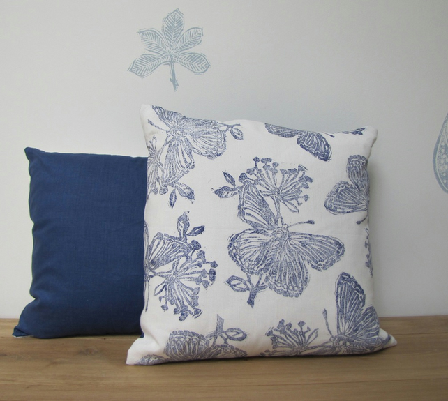 Blue Butterfly Linen Cushion